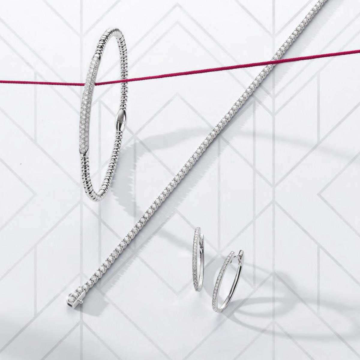 Bracelet, collier, boucle d'oreille, argent, Vichy