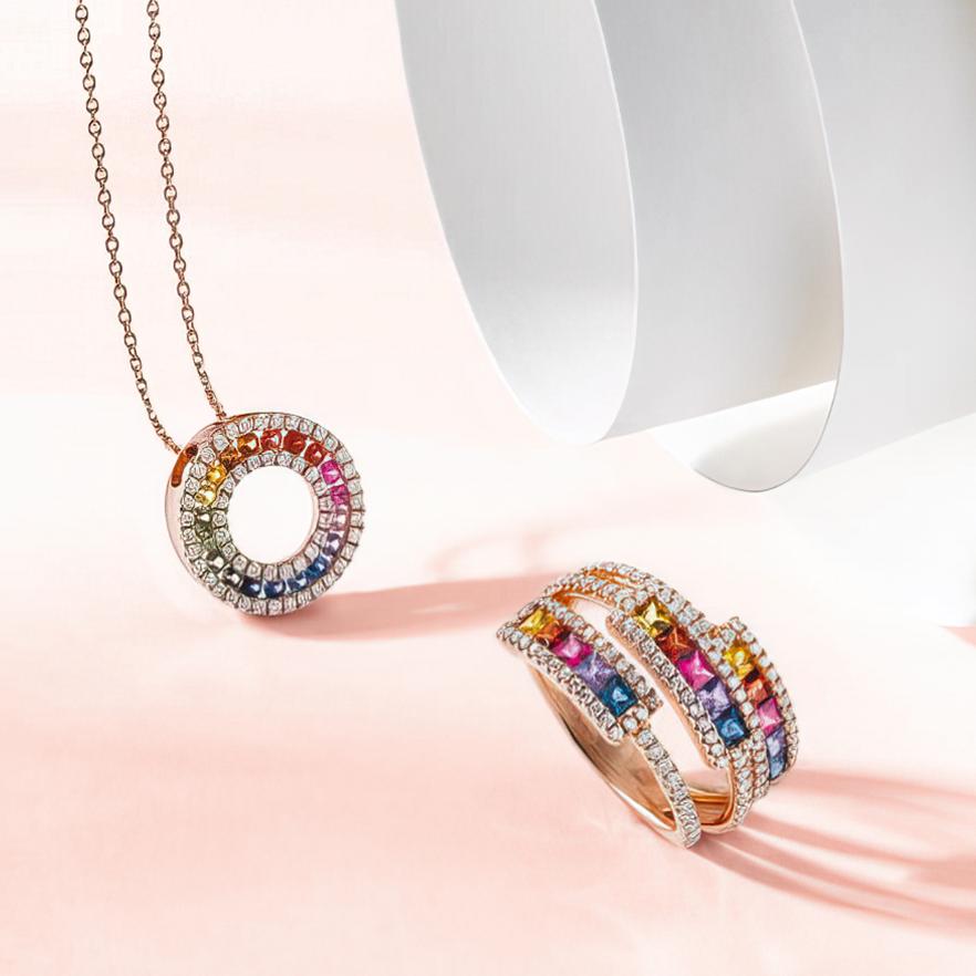 Ensemble de bijoux collier et bague Pelissier
